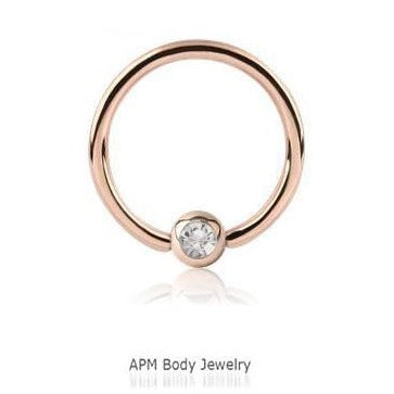 16G 18G Rose Gold CZ Titanium Captive Ring
