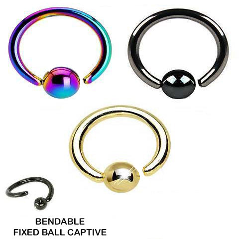 Wholesale Body Jewelry Fixed ball Titanium captive bead Rings