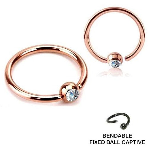 18G Rose Gold Fixed CZ Ball Captive Ring