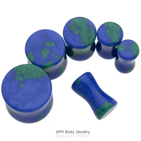 Azurite Stone Saddle Plugs