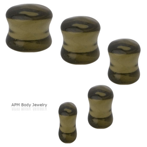 Smoke Murano Glass Saddle Plugs