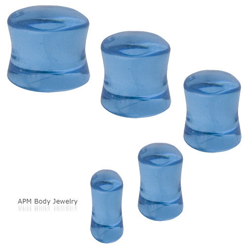 Aqua Murano Glass Saddle Plugs