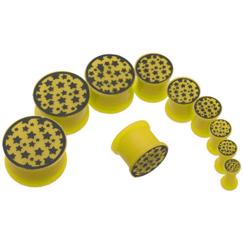 Yellow Star Logo Silicone Plugs 4G-3/4""