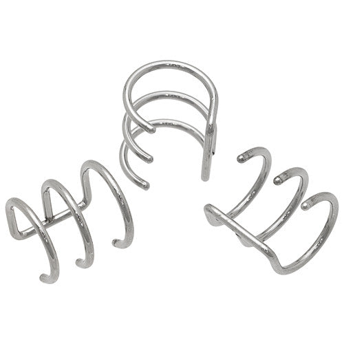 Steel Triple Hoop Cartilage Clip On