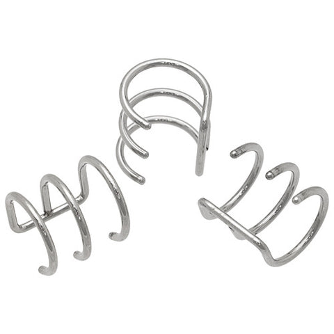 Steel Triple Hoop Cartilage Ear Cuff