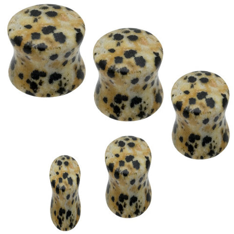 Dalmatian Jasper Stone Saddle Plugs