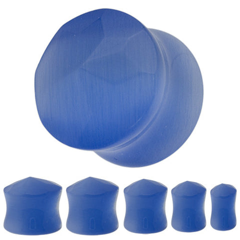 Faceted Blue Catseye Saddle Plugs