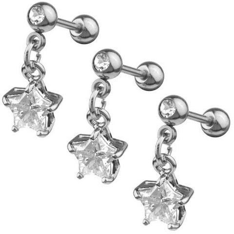 CZ Star Dangle Tragus Earring
