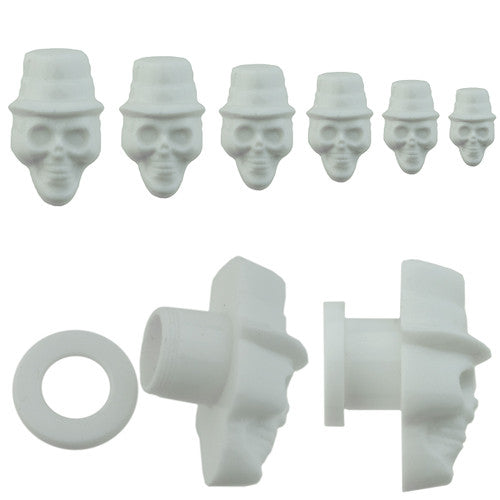 White Gambler Hat Skull Screw Plug