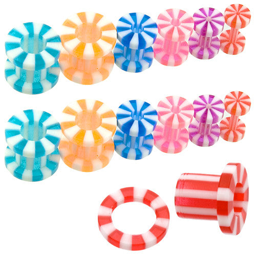 Top Mix 50pc Candy Stripe Screw Tunnel 12g-0g