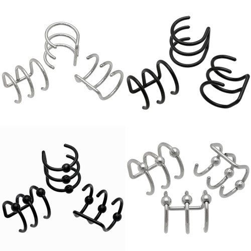 Top Mix 20pc Triple Hoop Cartilage Clip On