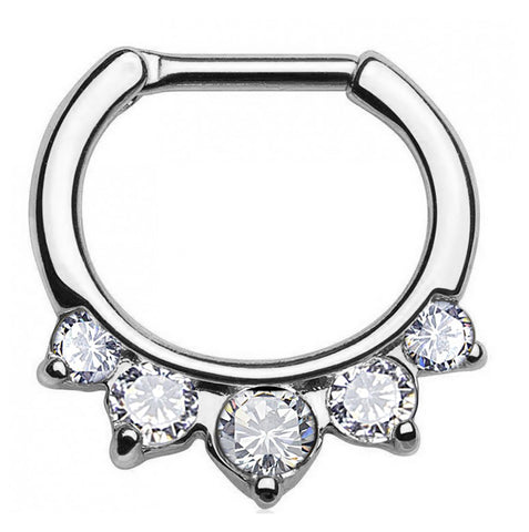 Large CZ Gem Septum Nipple Clicker
