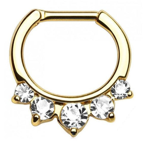 Gold Titanium Large CZ Gem Septum Nipple Clicker