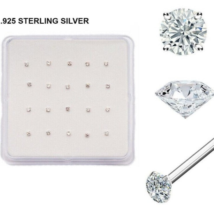 Silver Prong Set CZ Nose Stud [20pc/Box]