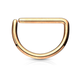 Rose Gold D Shaped Titanium Septum Ring