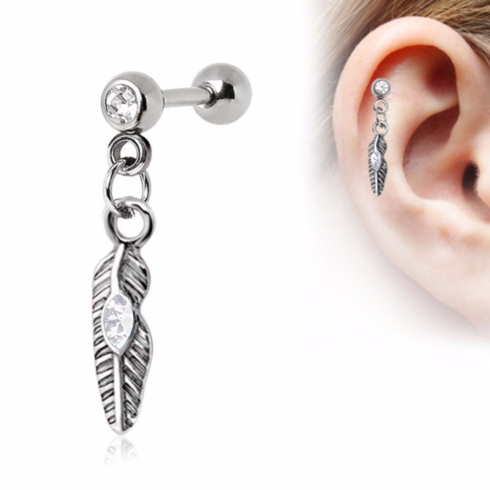 Steel CZ Tribal Feather Tragus Barbell