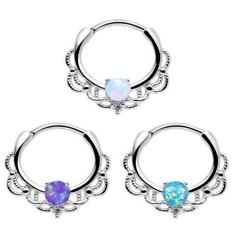 Steel Opal Septum Round Clicker