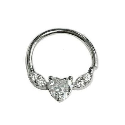 Steel Heart CZ Bendable Septum Tragus Hoop