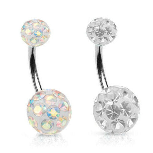 Epoxy Coated Double Ferido Multi CZ Belly Ring
