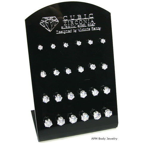 Stainless Steel Small CZ Studs with Stand
