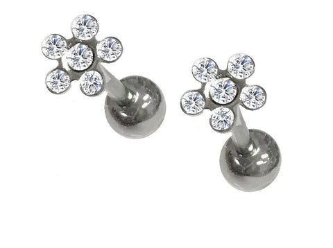 CZ Paved Flower Tragus Barbell