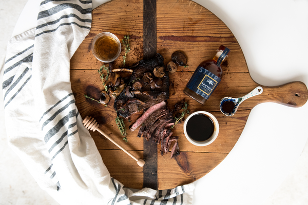 Steak with Bourbon Honey Espresso Glaze & Wild Mushrooms