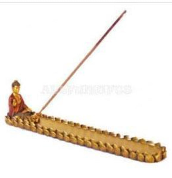 "10"" Gold Buddha Incense Burner"