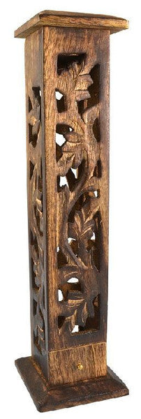 "12"" Carved Wood Square Tower Incense Burner"