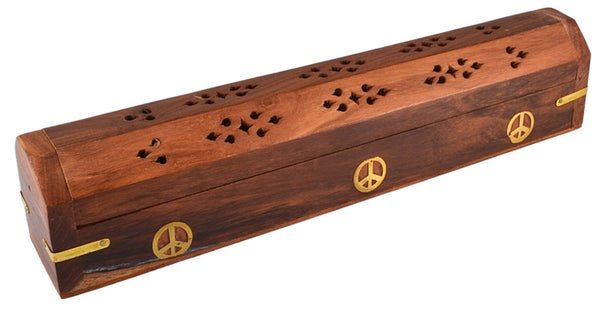 "12"" Peace Sign Coffin Incense Burner - Wood"