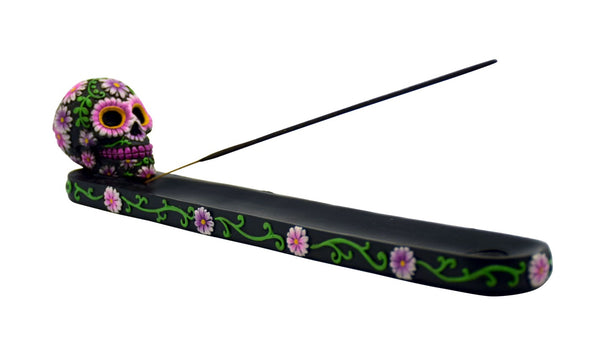 Black/Pink Sugar Skull Incense Burner