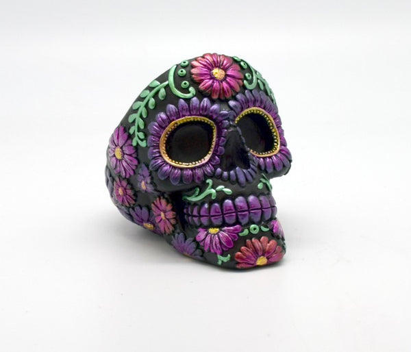 Purple Metallic Day of the Dead Tall Ashtray