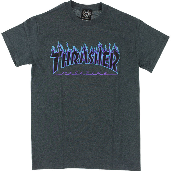 Thrasher Flame Logo T-Shirt - Dark Grey / Heather / Blue