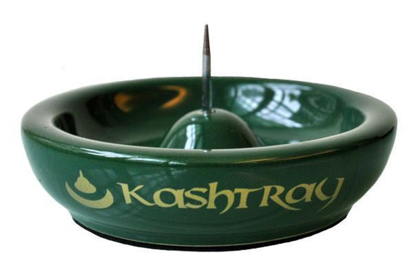 "Kashtray w/Cleaning Spike Ashtray - 4.5"" / Green"