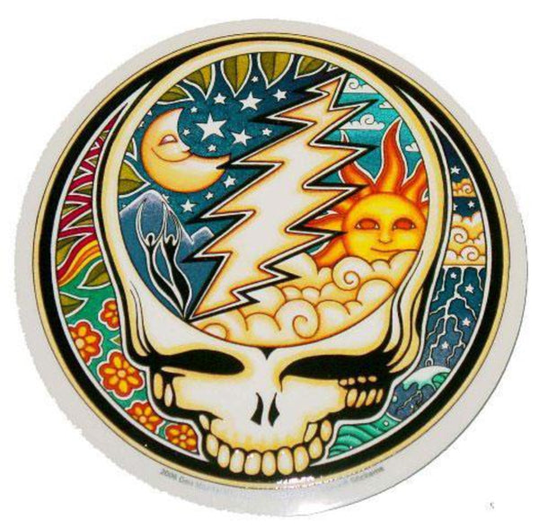 "4.5"" Round Grateful Dead Steal Your Face Sun & Moon Sticker"