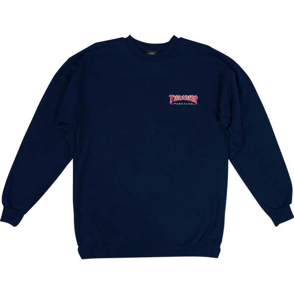 Thrasher Red/Navy Blue - Embroidered Logo Crew Sweatshirt - Size MD