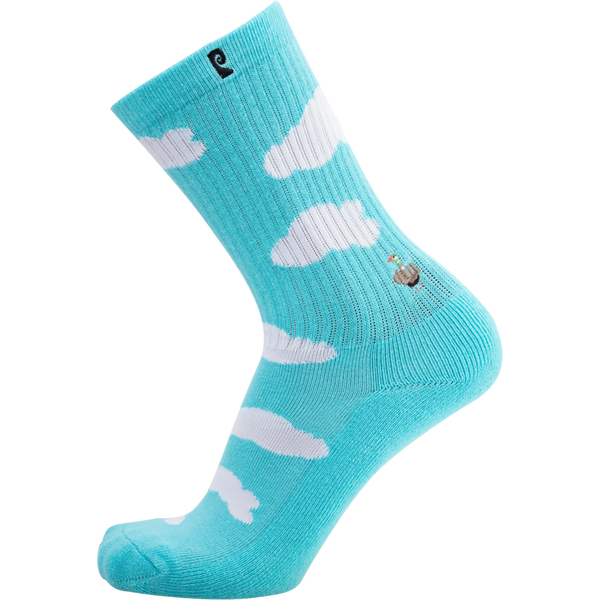 Psockadelic Bird Crew Socks - Blue/White