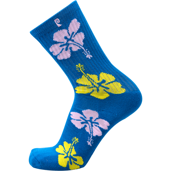 Psockadelic Flower Crew Socks - Blue