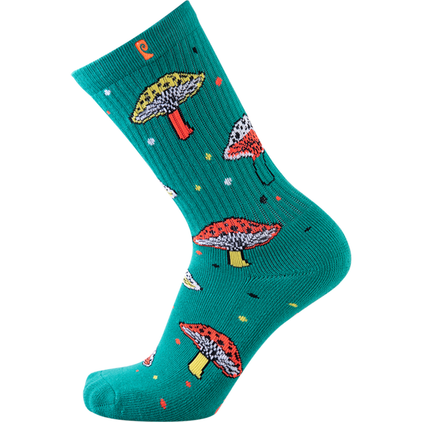 Psockadelic Fungi Crew Socks - Teal/Orange