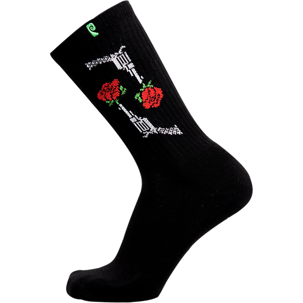 Psockadelic Ellington Rose Crew Socks - Black
