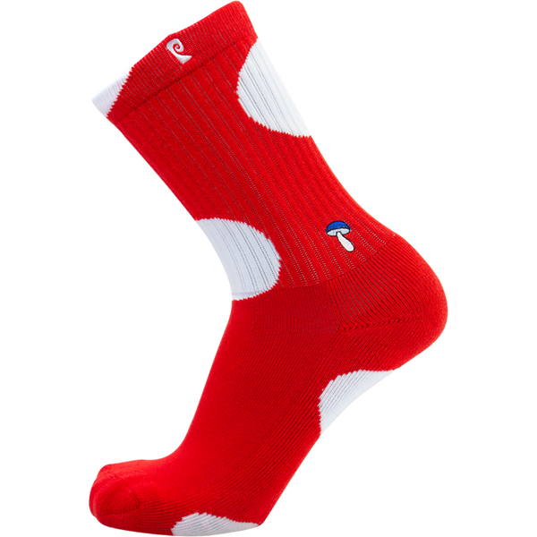 Psockadelic Shroom Top Crew Socks - Red