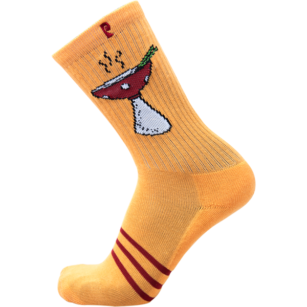 Psockadelic Nuge Shroom Bowl Crew Socks - Orange