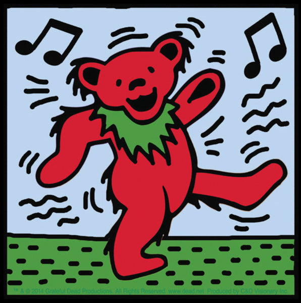 "4""x4"" Keith Haring Style Grateful Dead Dancing Bear Sticker"