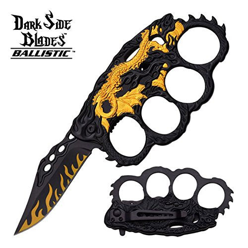 Dark Side Blades Assisted Yellow Dragon Folding Knife with Knuckle Guard