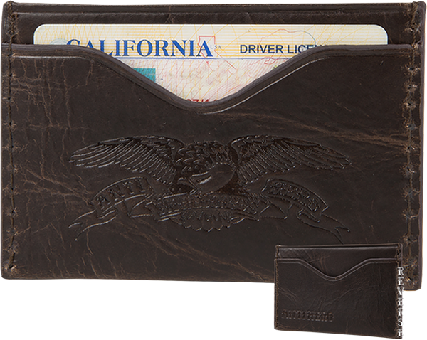 Anti-Hero Eagle Card Holder Wallet - Brown Leather