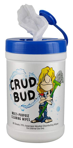 Crud Bud Alcohol Wipes Tub w/ KeyChain - 80Ct