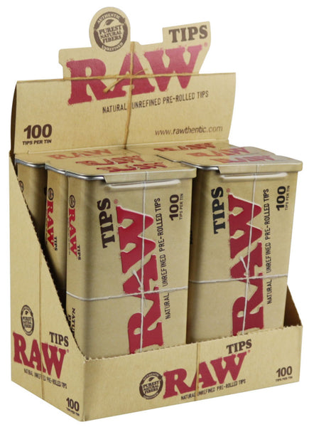 Raw Pre-Rolled Tips / 100pc Tin