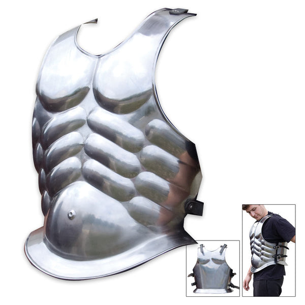 Roman-Style Steel Armor Breastplate with Muscle Tone