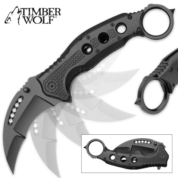 Timber Wolf Black Finish Karambit Pocket Knife