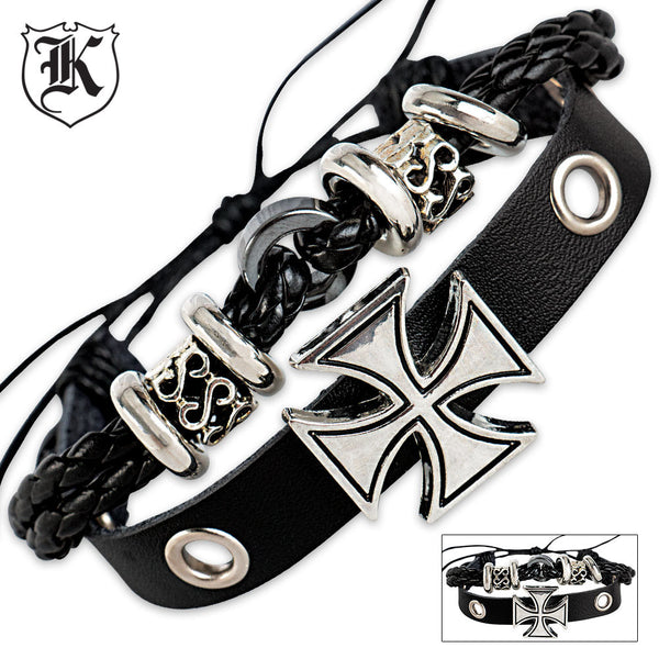 2PC Black Leather Bracelet