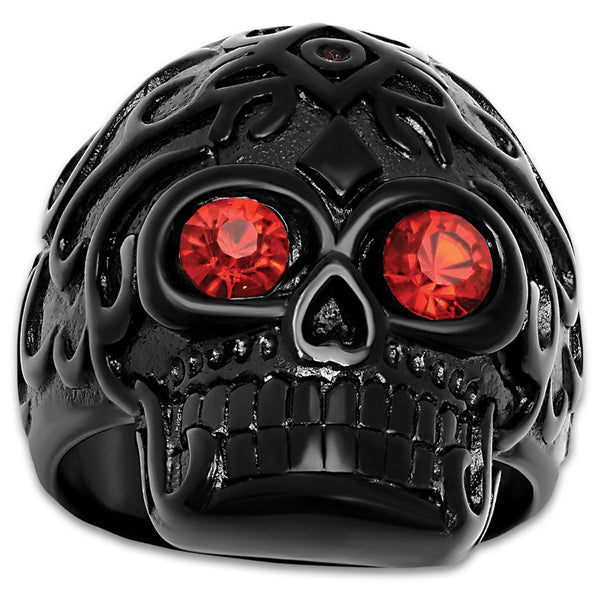 Black Skull Ring With Ruby Red Eyes